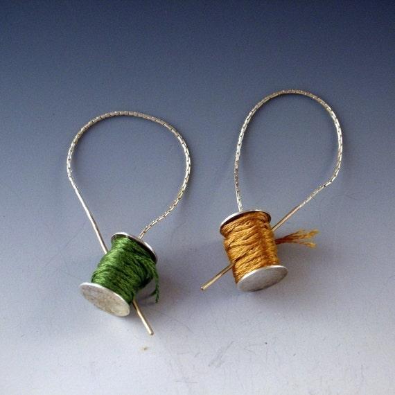Stitchers  Earrings golden needle ear threads sterling