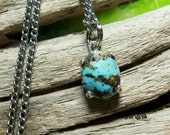 Natural Kingman Turquoise Set in Sterling Pendant on a Chain