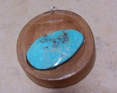Cherry Wood and Natural Kingman Turquoise Pendant