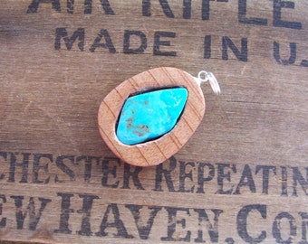 Kingman Turquoise in Cedar Wood Pendant