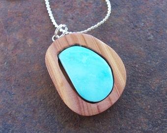 Like the Letter D  - Turquoise and Cedar Pendant on Chain