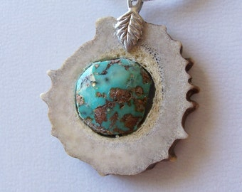 The Pendant has Two Faces - Natural Kingman Turquoise in Deer Antler Pendant