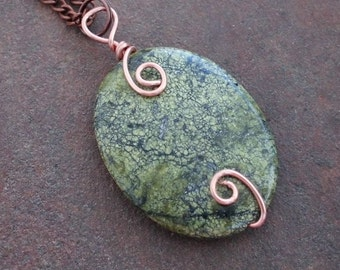 Copper Wire Wrapped Russian Serpentine Pendant on Chain