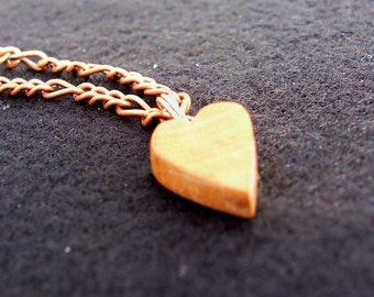 Teeny Heart of Cherry Wood on 20 inch Antiqued Copper Chain