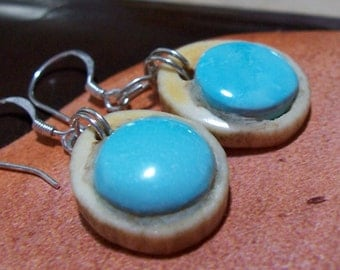Natural Kingman Blue Turquoise Deer Antler Earrings
