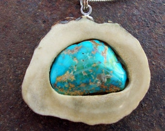 Simply Gorgeous Kingman Turquoise Deer Antler Pendant on Sterling Necklace3