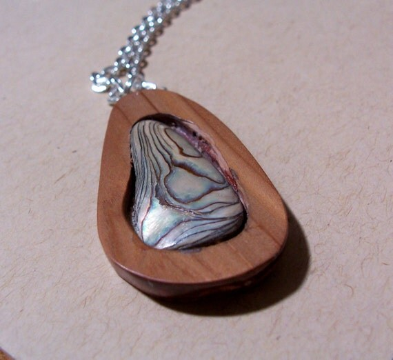 Colorful Abalone Shell in Cedar Wood Pendant on Chain