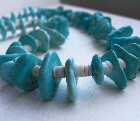 Natural Kingman Turquoise Heishe Necklace