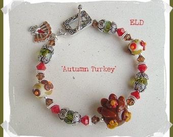 Thanksgiving AUTUMN TURKEY Artisan Lampwork & Swarovski Crystals Beaded Bracelet - SALE!