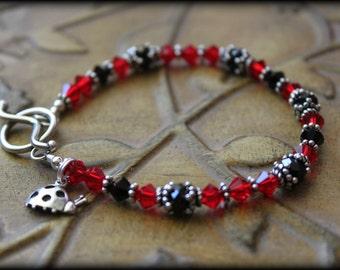 """LITTLE ReD LADYBUG Red & Black Sterling Crystal Bracelet Size 7.5"""" - SALE!!"""