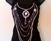 NOIR Black Singlet Top with Pink Print Size Large