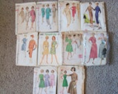 Lot 10 vintage patterns 50s 60s dresses, skirts, jackets-Free Shipping
