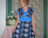 Blue and white love bird dress-Clearance