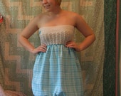 Blue and white strapless fairy dress-Clearance