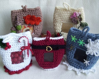 Seasonal Gift Sacks    PDF Crochet Pattern