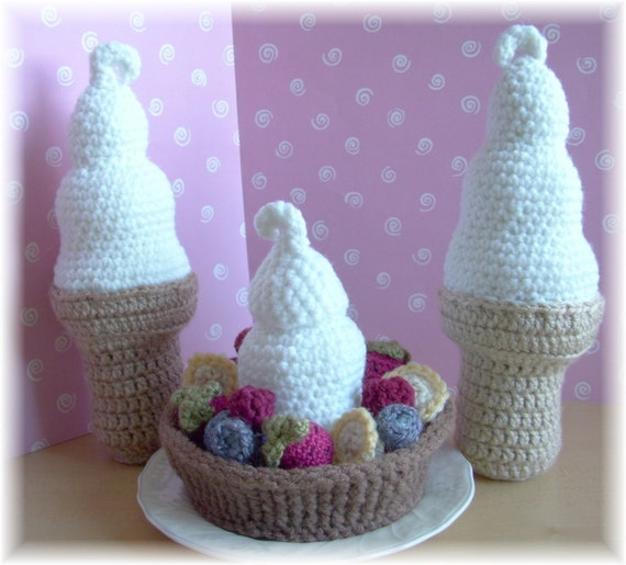 Ice Cream Cone and Ice Cream Sundae in a Waffle Bowl...PDF Pattern