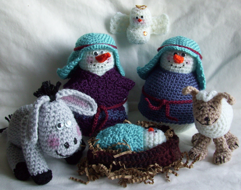 Snowman nativity pdf crochet pattern Adornos a ganchillo