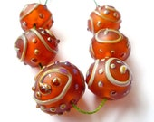 HOLLOW LACE - Honey - LAMPWORK GLASS BEAD SET - FREE SHIPPING FOR ANY ADDITIONAL ITEMS.