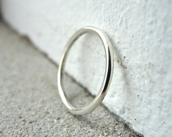 smooth slim sterling silver wedding band or stacking ring (in your size) by kimberly nogueira