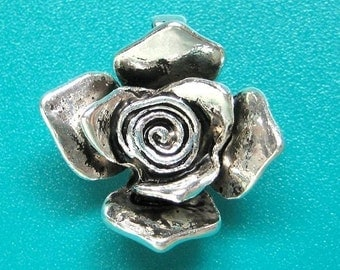 2pc Antique silver rose pendant charm -nickel free
