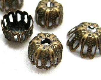 24pcs Antique bronze 9mm bead cap BC530
