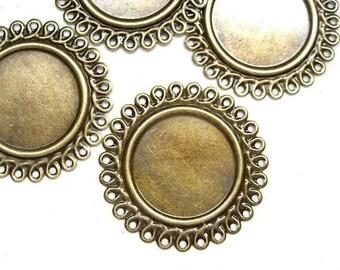 20pcs Antique bronze round bezel pendant (BZ505)