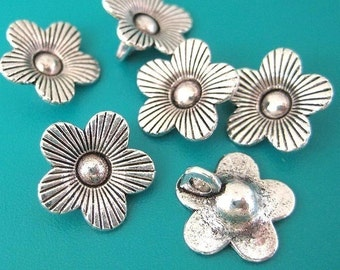 10pc Antique silver flower charm bead -nickel free