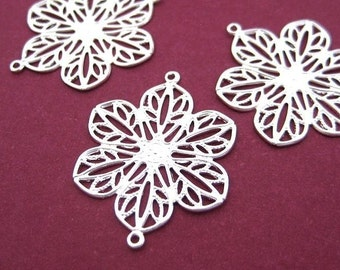 6pc Silver-plated Flower filigree connector CN514S