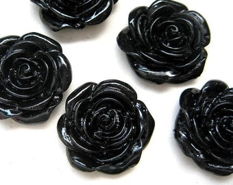 5pcs Resin Flower Rose Cabochon - Black