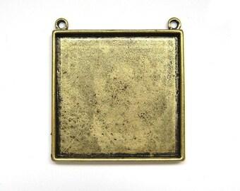 2pcs Large Antique bronze square bezel BZ527