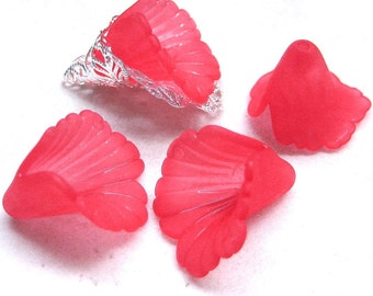 10pcs red Lucite Frosted Iris Flower Beads