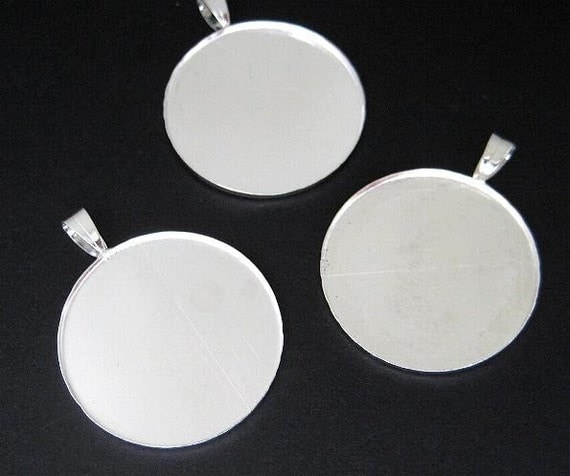 8pc Silver-plated round 25mm bezel setting BZ516S