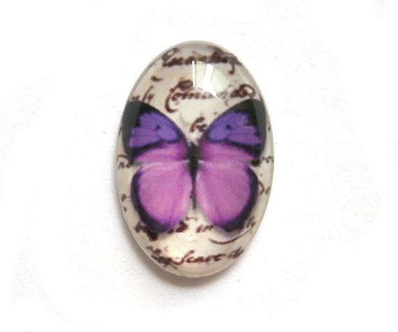 2pcs Glass Cabochon - purple butterfly C405-2
