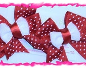 A set of Hairbows- Red polka dot hairbows