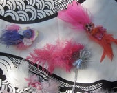 Birthday Party Pack of 6 Feather Hair Fascinators in Shades of Pink