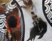 Mardi Gras Party Pack of 6 Feather Hair Fascinators in Earth Tones