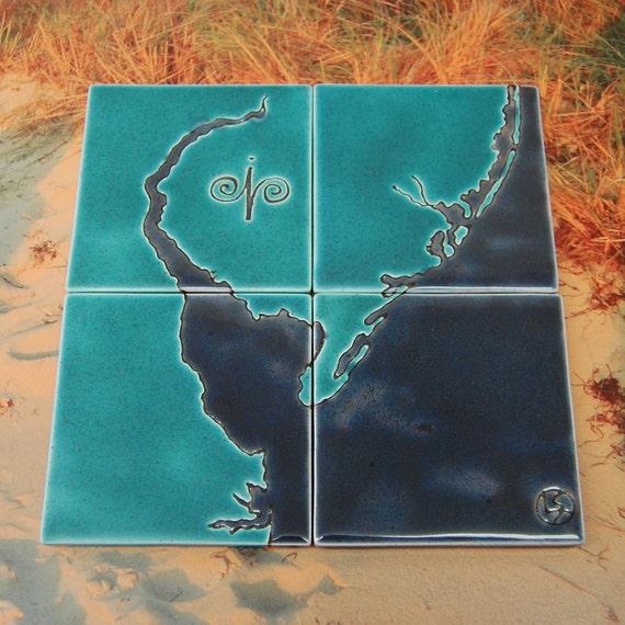 Delaware Bay Ceramic Coaster (Puzzle) Set
