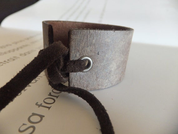 FREE SHIPPING - SALE - Hand Painted Upcycled Leather Cuff