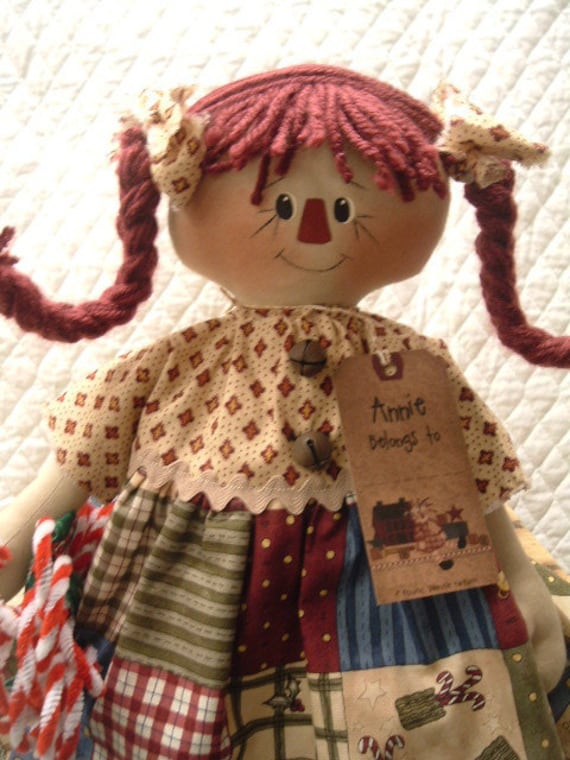 Primitive Cute Christmas Candy Cane Raggedy Ann type doll