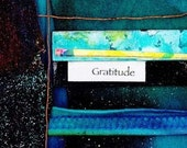 GRATITUDE Original Mixed Media Dimensional Collage Recycled Art FRAME READY EBSQ