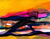 """Yellow, Orange, Original Abstract Painting, Contemporary, Modern, art """"Abstraction 26""""  by Kathy Morton Stanion EBSQ"""