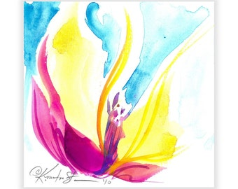 """Abstract Flower painting, Floral Watercolor Art, Spiritual Art, Pink, Blue, yellow, """"SOUL FLOWER 51"""" by Kathy Morton Styanion EBSQ"""