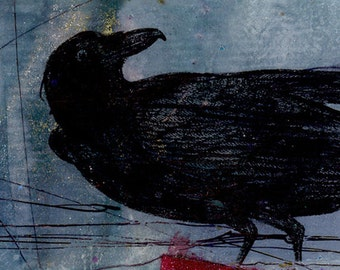 Crow - Original Mixed Media Collage Art In Frame Ready Mat - Contemporary Modern EBSQ