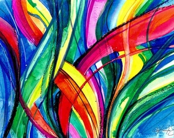 """Yellow, Green, Blue, Red Sea, Ocean Abstract painting, Watercolor Art, Contemporary Modern art """"Color Dance of The Sea 2"""" Painting EBSQ"""