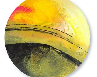 Abstract  yellow Landscape Painting, Art,  on reclaimed wood Found Recycled Wood by CIRCLE ABSTRACT 20  Kathy Morton Stanion EBSQ