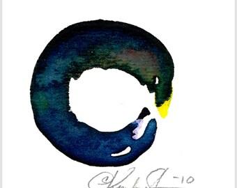ZEN CIRCLE 35 - Original tiny watercolor painting by Kathy Morton Stanion ... EBSQ