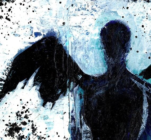 Dark Angel... Original OIL painting recycled reclaimed wood Mixed Media art EBSQ