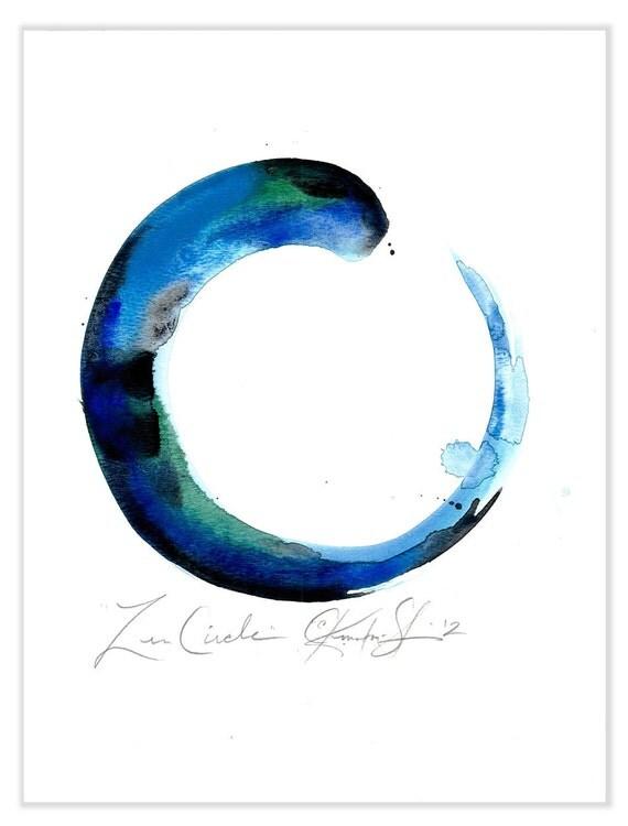 Original Enso Zen Painting Throw Pillows: Zen Circle No. 16 Original Watercolor Painting By Kathy
