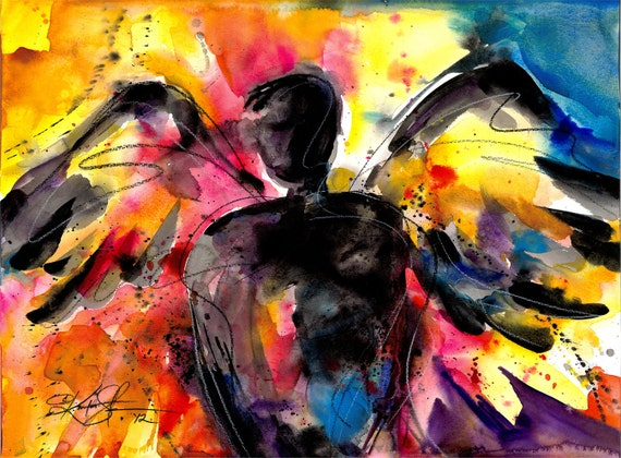 """Angel painting, Large Red Abstract Watercolor Art, """"Angel No.9""""  Original similar to the one featured in West Elm Kathy Morton Stanion EBSQ"""