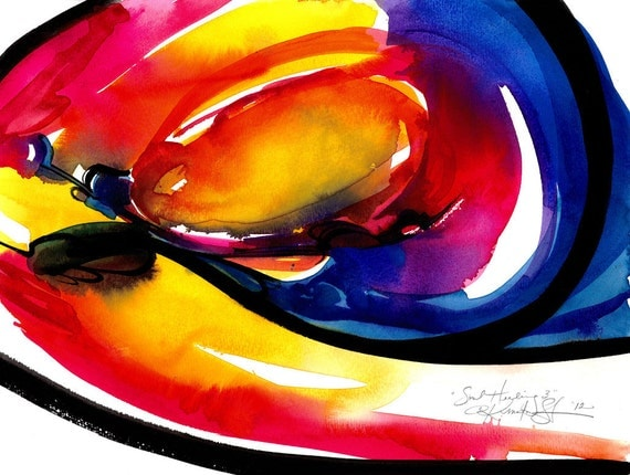 """Spiritual Red, yellow, Purple, Black, Blue, Abstract Painting, Watercolor Art, Original """"Soul Healing 3"""" by Kathy Morton Stanion EBSQ"""